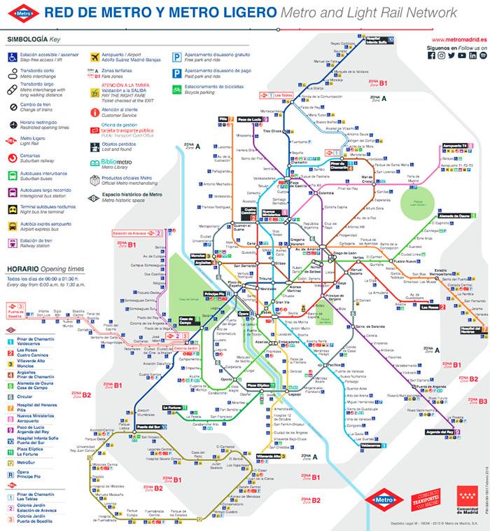 Imagen del mapa del metro de Madrid 2019 en el año de la celebración de su centenario