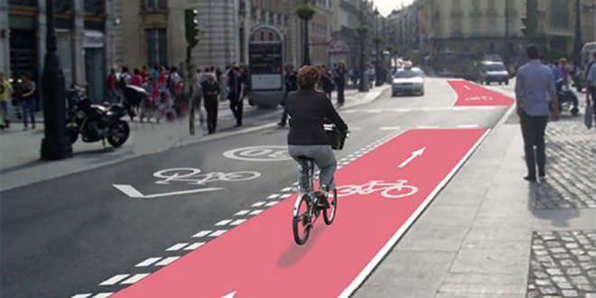 Imagen del uso de la bicicleta en las calles de Madrid